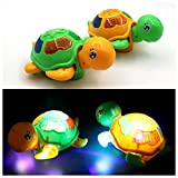 Meiyiu 360 Degree Rotation Electric Tortoise Toy with LED Flashing and Music Glowing Turtle Toy Gift for Kids Baby Toddlers Battery Powered