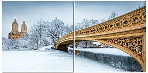 (Canvas Wall Art Decor - 24x24 2 Piece Set (Total 24x48 inch)- NYC Winter Snow in Central Park - Decorative & Modern Multi Panel Split Canvas Prints for Dining & Living Room, Kitchen, Bedroom & Office )