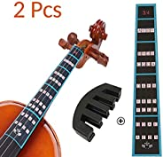 VCOSTORE Violin Mute and Finger Guide Pack, 3/4 4/4 Fingerboard Sticker Fret Guide Label Chart and Rubber Prac
