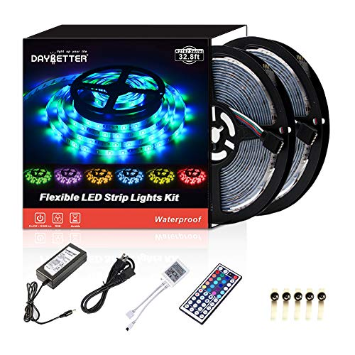 DAYBETTER Led Strip Lights Waterproof 10M 32.8 Ft Color Changing RGB SMD 3528 600 LEDs, LED Ribbon for Home Kitchen Bedroom Holiday Light Strips Power Adapter Included NO White Color