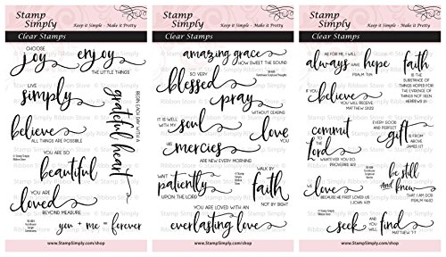 Stamp Simply Clear Stamps Scripture Sentiments Farmhouse Trio Words of Encouragement Christian Religious (3-Pack) 4x6 Inch Sheets - 25 Pieces (Best Verses For Encouragement)