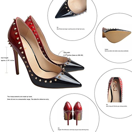 Stiletto with gradient balck Colored Toe Red Pumps Rivets FSJ 15 Heels Gradient 4 Pointed Size HX0qw6