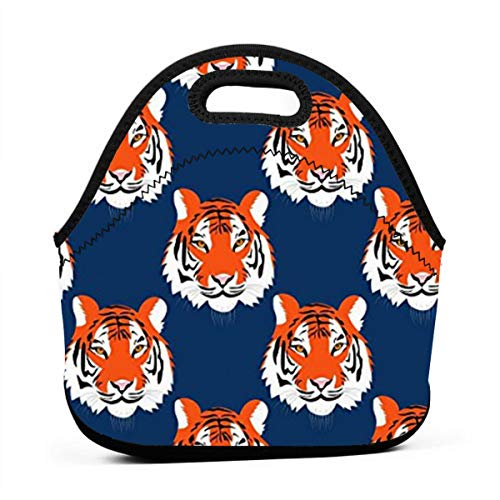 Jungle Tigers In Auburn Colors Insulated Neoprene Lunch Bag Tote Handbag lunchbox Food Container Gourmet Tote Cooler warm Pouch For School work Office