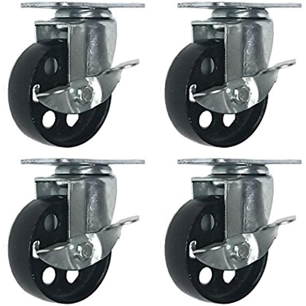 """4 All Steel Swivel Caster Wheels Heavy Duty 4/"""" Plate"""