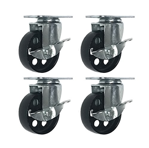 4 All Steel Swivel Plate Caster Wheels w Brake Lock Heavy Duty High-Gauge Steel (3
