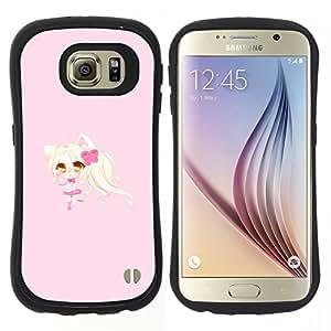 "Pulsar iFace Series Tpu silicona Carcasa Funda Case para Samsung Galaxy S6 , Rubio anume Cat Ears Carácter Chica"""