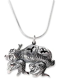 "925 Sterling Silver Pendant Necklace, 17.75"" 'Human Automobile'"