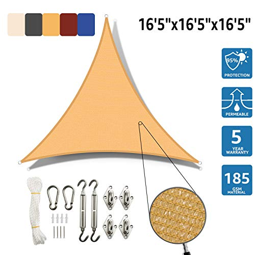 SunnyJoy Triangle 16.5'x16.5'x16.5' Sun Shade Sail with Stainless Steel Hardware Kit, Perfect for Outdoor Patio Garden, Sand
