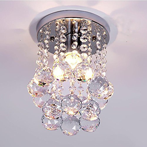 Amanadan 1-Light Mini Chic Crystal Chandeliers Flush Mount Ceiling Lamp Light Chrome Finish Stainless Steel Rain Drop Pendant For Living Room, Hallway, Kitchen, Dining Room, Kids Room