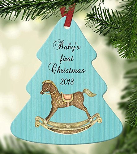 Baby's First Christmas 2018 Ornament - Aqua Blue Background with Rocking ()