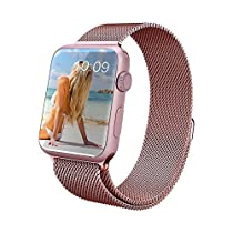 Apple Watch Band, Piqiu Fully Magnetic Closure Clasp Mesh Loop Milanese Stainless Steel Bracelet Strap for Apple Watch Sport & Edition 42mm All Models No Buckle Needed -- Rose Gold