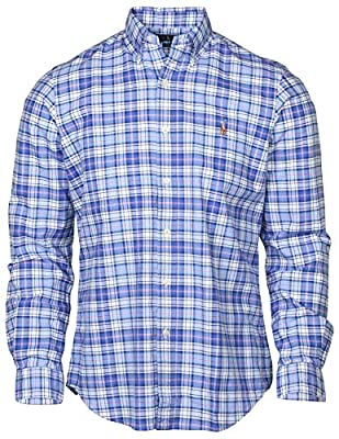 Polo Ralph Lauren Men's Plaid Long-Sleeve Oxford Woven Shirt (Medium, Blue/Red/White Plaid)