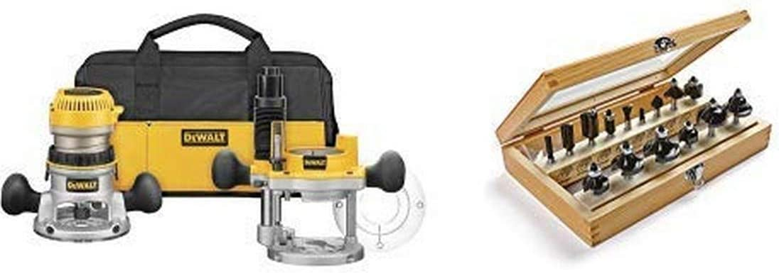 DEWALT DW618PKB 2-1/4 HP EVS Fixed Base/Plunge Router Combo Kit with Soft Start with 1901048 Marples Deluxe Router Bit Set (15 Piece)