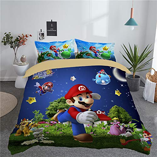 (leibedding Queen Duvet Cover Super Mario for Kid or Adult 3D Duvet Cover Set (1 Duvet Covet 2 Pillow Cases))