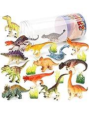 21-Delig Dinosaurusspeelgoed, Realistische Plastic Mini-dinosaurusfiguren Feesttaarttoppers met Opbergemmer voor Kinderen