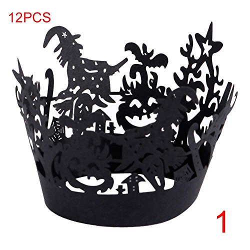 Finerplan 12 Pcs Cupcake Wrappers Case Hollow Laser Cut Cake Decorating Halloween Party Decor Accessories -