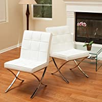 Modern Christopher Knight Home Milania White Leather Dining Chairs (Set of 2) in White