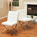 Set of 2 Modern Button Tufted White Leather Upholstered Dining Chairs with Stainless Steel Legs - Includes Modhaus Living Pen ...