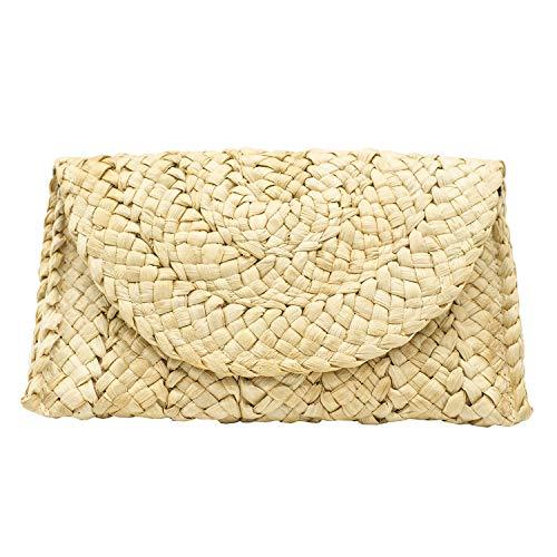- Purple Star Women's Hand Wrist Straw Clutch Bag -Bohemian Summer Beach Purse Envelope Bag Wallet for Woman's Gift