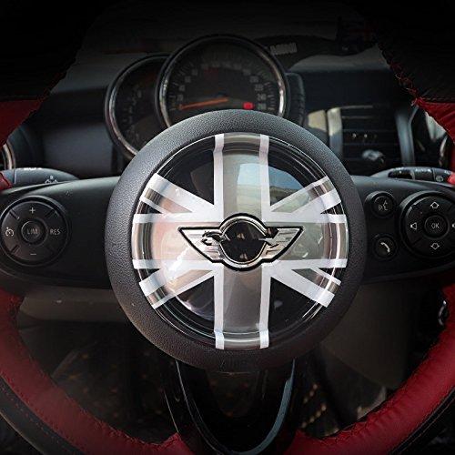 LVBAO 3D Steering Wheel Cover Dashboard Trim Sticker for BMW Mini Cooper ONE S JCW F Series F54 F55 F56 F57 F60 Countryman Clubman Union Jack (01)