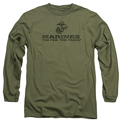 Trevco US Marine Corps Distressed Logo Unisex Adult Long-Sleeve T Shirt For Men and (Marines Adult Sweatshirt)