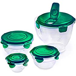 Lock & Lock 8pcs Set Plastic Food Storage Container Pinch Bowl and Measuring Pitcher Emerald with Nesting Design and Airtight Anti-Spill Proof Technology