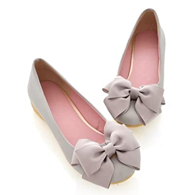 CHFSO Women's Sweet Bow Solid Round Toe Slip On Low Top No Heel Flats Shoes
