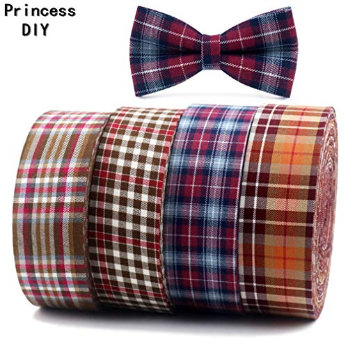 Jyliolom.DR 5Meter Spring Autumn Tape Printed Gingham Check Ribbon Fabric Cotton Layering DIY Hair Bow Craft Accessory Material 1 50mm