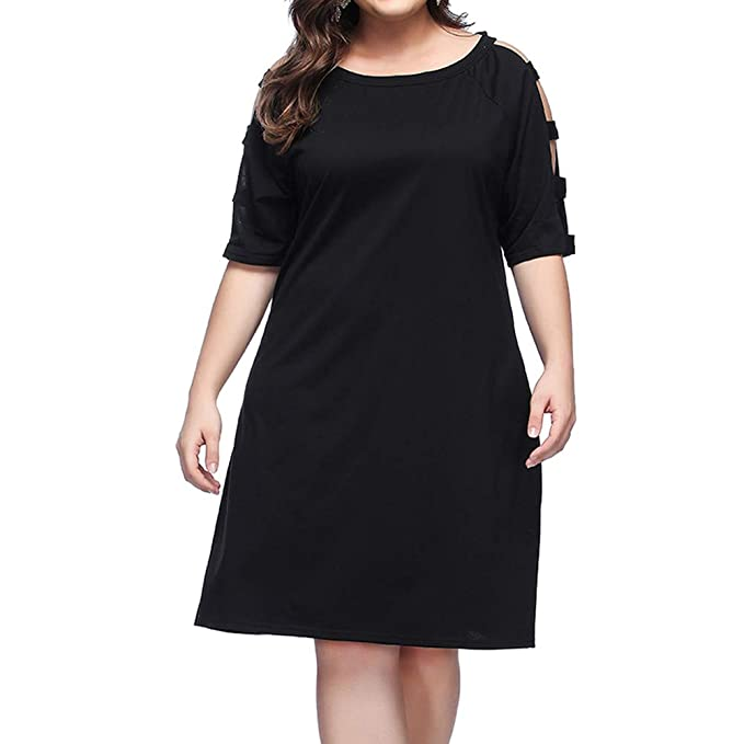 GINVELL Women Plus Size Scoop Neck T-Shirt Dress with Hollow Out Sleeve  Knee Length