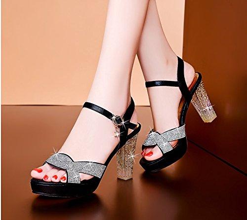 Heels 7Cm Mouth Diamond All KHSKX Female Black Rough Summer Fish Sandals Shoes Match Rq1gw5PY