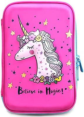 Estuche para lápices con diseño de unicornio para niñas | Lindo soporte para preescolar, guardería y bolígrafo elemental con compartimentos | bolsa con cremallera rosa para niños (unicornio rosa): Amazon.es: Bricolaje y