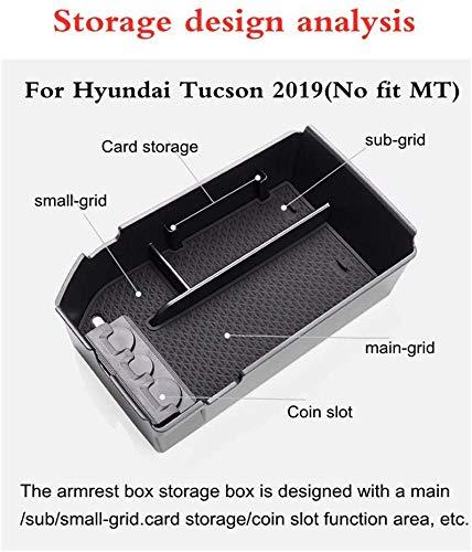 L/&U Apoyabrazos del Cuadro de Coche para Hyundai Tucson 2019 Center Console Organizador Mat Puerta Interior Mat Copa ABS Bandeja Pallet Container