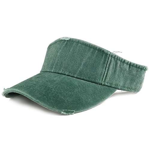 Armycrew Frayed Pigment Dyed Garment Washed Distressed Adjustable Visor Cap - Forest Green