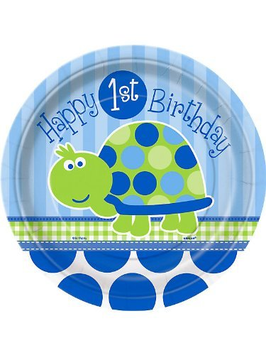Turtle 1st Birthday Dessert Plates, -