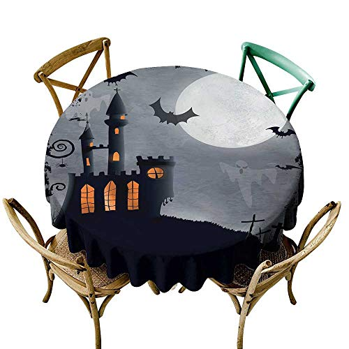Wendell Joshua Navy Blue Tablecloth 50 inch Vintage Halloween,Halloween Themed Asymmetric Caste with Scary Bats and Ghosts Full Moon,Black Grey 100% Polyester Spillproof Tablecloths -