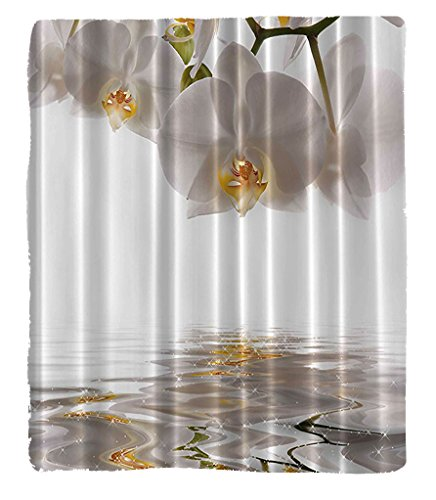 Chaoran 1 Fleece Blanket on Amazon Super Silky Soft All Season Super Plush Artsy Flower Orchid Reflection on Pond Lake House Decor Water Wild Flowers Anniversary Birthday Design (Twin Lakes Halloween Night)