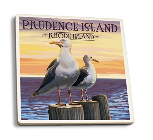 Lantern Press Prudence Island, Rhode Island - Seagulls (Set of 4 Ceramic Coasters - Cork-Backed, Absorbent)