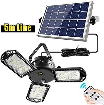 Aplique Lampara Solar para Exterior Jardin PAKASEPT Luz Solar Exterior con Sensor de Movimiento 3 cabezas Luces LED Solares Exteriores 180/º lluminaci/ón Focos Solares Exterior Impermeable