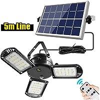 PAKASEPT Luz Solar Exterior 3 cabezas, Luces LED Solares Exteriores 180º lluminación Focos Solares Exterior Impermeable, Aplique Lampara Solar para Exterior Jardin