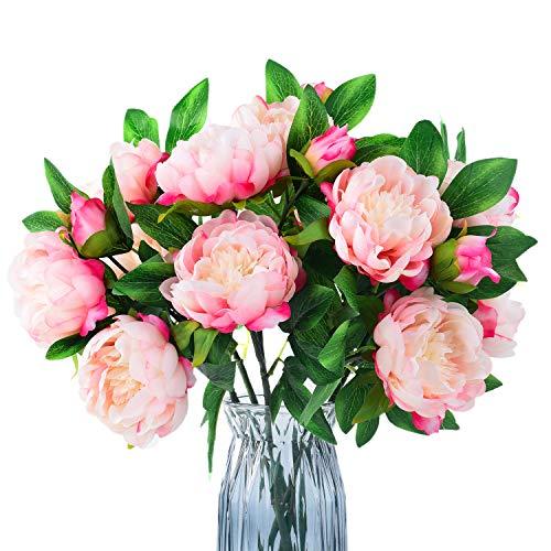 Blooming Paradise Artificial Flowers 3 Bouquet Pink Peony Fake Flower 2 Flower Head 1 Bud Each, Silk Lifelike Home Wedding Decoration