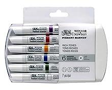 Winsor & Newton Pigment Marker - Pack De Rotuladores De 2 Puntas (Fina Y Gruesa) , Tonos Ricos