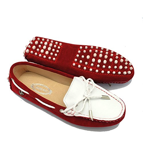Red Stitching Driving Casual Two Women's Peas Loafer Shoes Flats Work Meijili Shoes Colors xFq7nRaR