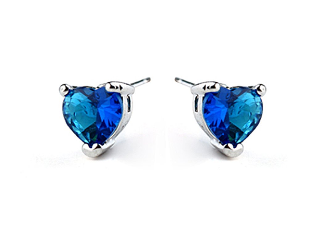 White Gold Plated Titanic Heart of the Ocean Blue Cubic Zirconia Stud Earrings Fashion Jewelry for Women (Earring)