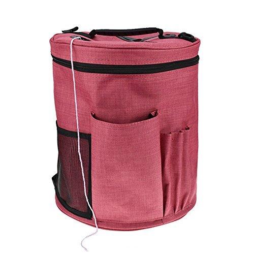 XGZ Borsa porta gomitoli per lavoro a maglia, spaziosa borsa in tela per riporre gli accessori per lavoro a maglia, uncinetto e filato Red