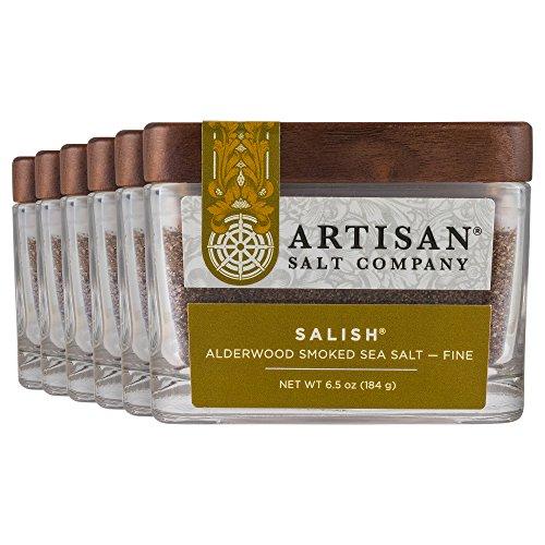 - SaltWorks Salish Alderwood Smoked Sea Salt, Fine, Boutique Glass Jar, 6 Count