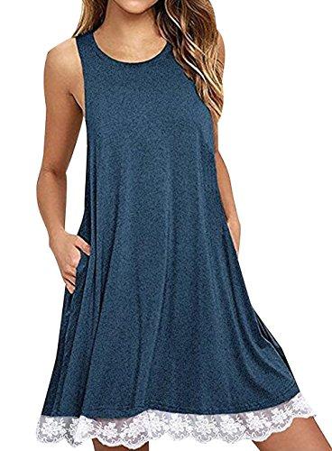 con Encaje Informales Mujer Vestidos Bonitos Vestir Azul Vestido Sin Casuales Rectos Playeros Verano Anchos Casual Cortos Diarios Sueltos Camiseros de Mangas Vestidos Vestidos Mujer Dobladillo Señora 6w1Y6P