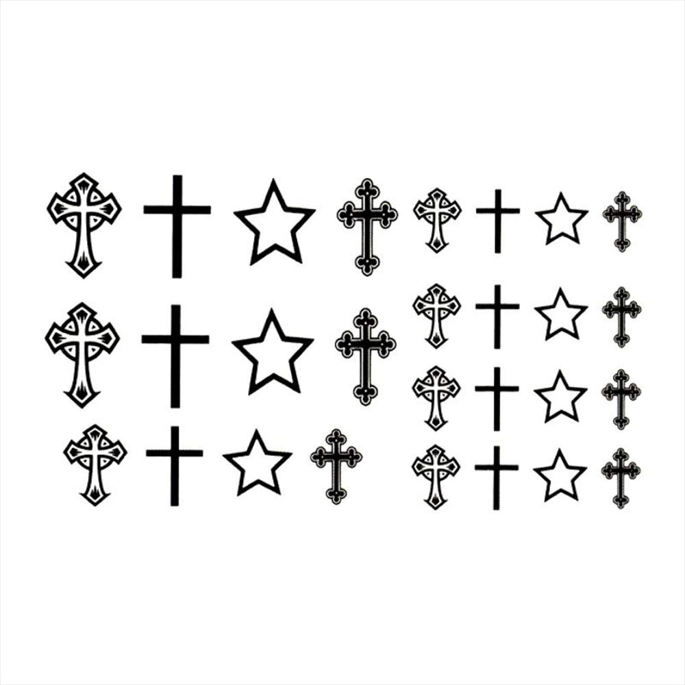 Tatuajes temporales de religión con diseño de cruz de rosario de ...