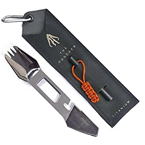 Full Windsor The Muncher Titanium Multi Utensil 10 Function Lightweight Multi Purpose Tool Includes Spork, Knife, Fire Starter, Bottle Opener. Multitool for Camping, Travel, Backpacking Gear.