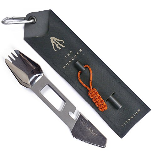 THE MUNCHER Titanium Multi Utensil by FULL WINDSOR - 10 Function Lightweight Multi Purpose Tool includes Spork, Knife, Fire Starter, Bottle Opener.... Multitool for Camping, Travel, Backpacking - Titanium Can