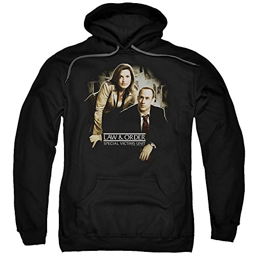Trevco Law and Order SVU Helping Victims Unisex Adult Pull-Over Hoodie for Men and Women, Medium Black
